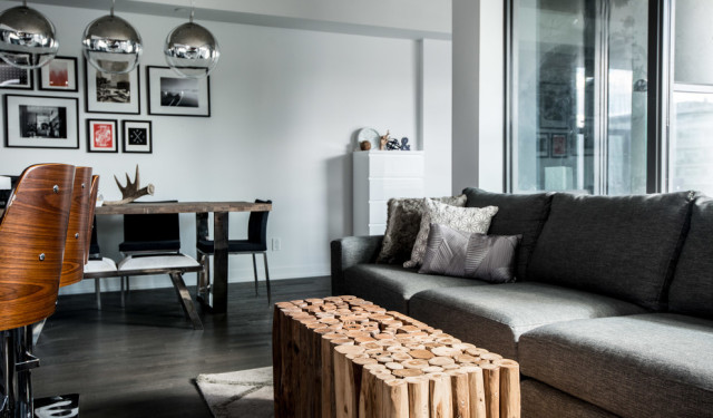 Industrial bachelor pad with grey tones