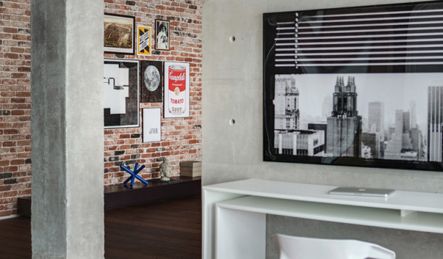 Industrial apartment with funky light plan