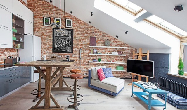 Small bricked industrial loft apartment