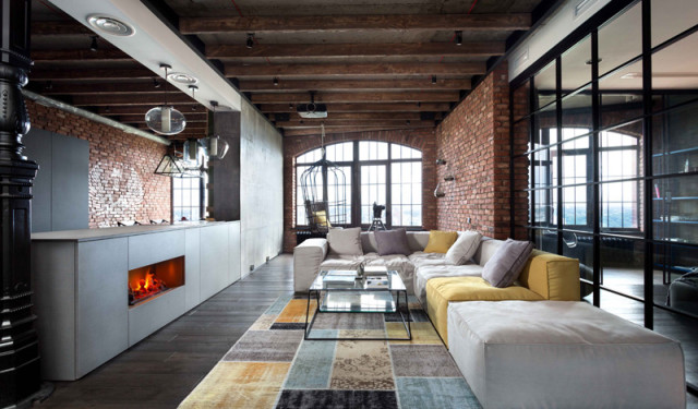 Industrial loft with yellows and soft greys