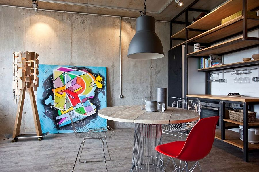 Stylish-studio-apartment-living-room-with-exposed-concrete-wall