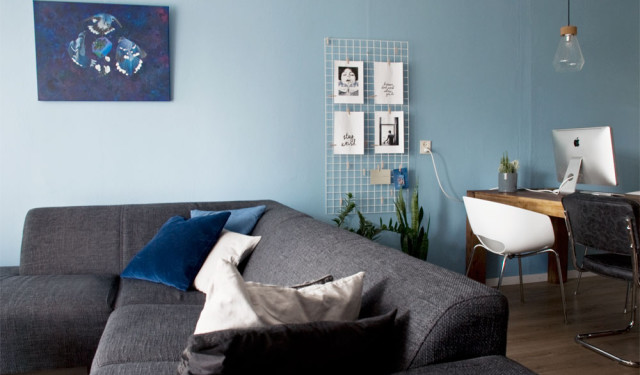 A subtle blue indigo living room wall