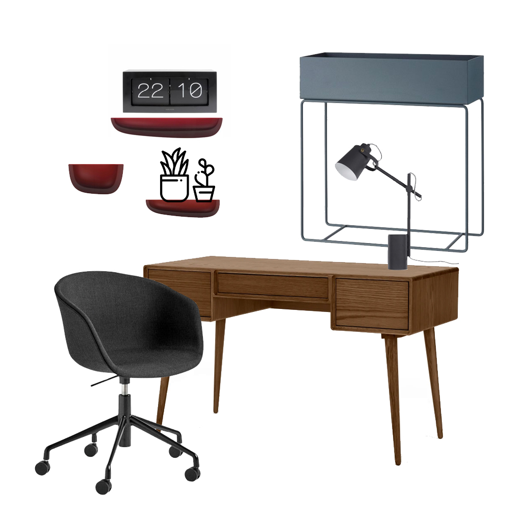 collage home office in burgundy red and cool grays